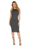 ROG Blair Sleeveless Solid Midi Dress, Charcoal front