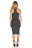 ROG Blair Sleeveless Solid Midi Dress, Charcoal back
