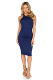ROG Blair Sleeveless Solid Midi Dress, Navy front