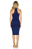 ROG Blair Sleeveless Solid Midi Dress, Navy back