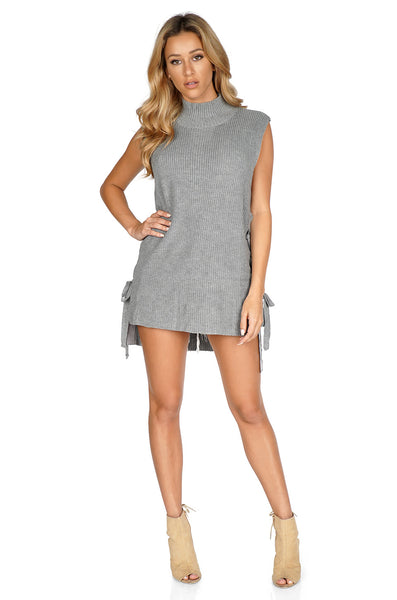 ROG Sleeveless Turtleneck Dress Sweater w/ Lace-Up Sides Full