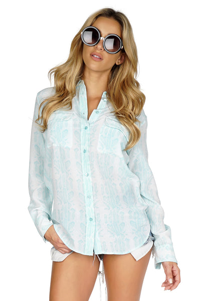 Equipment Women's Slim Signature Button Down Long sleeve Blouse in White/Blue front