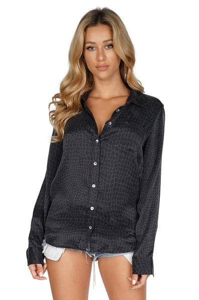 Equipment Women's Brett Button Up Longsleeve Black Blouse Crocodile Front