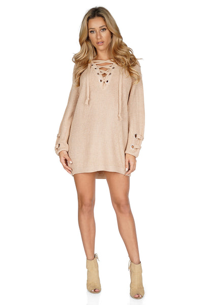 ROG Janessa Lace Up Sweater Tunic front