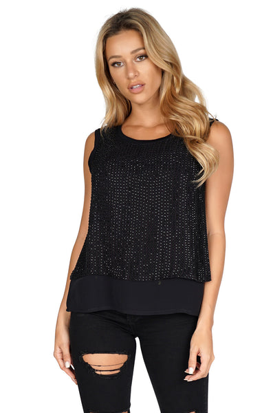 GENERATION LOVE Yaya Beaded Sleeveless Blouse front