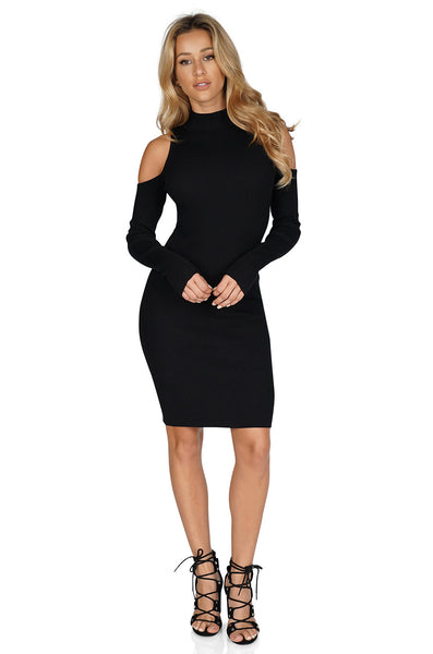 ROG Hera TurtleNeck Dress - Cold Shoulder Midi Dress front