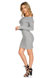 ROG Demie Mini Ribbed  Off The Shoulder Dress Gray side