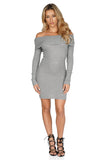 ROG Demie Mini Ribbed  Off The Shoulder Dress Gray front