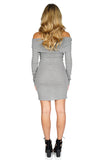 ROG Demie Mini Ribbed  Off The Shoulder Dress Gray back