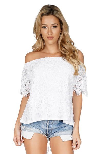 GENERATION LOVE Carly Off Shoulder Lace Top front