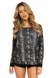 Generation Love Women's Yelena Snake Print Sweater in Black front