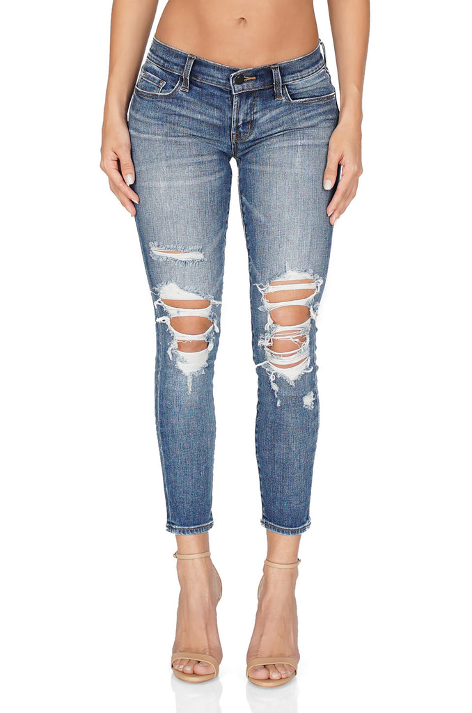 J Brand Low Rise Distressed Crop Skinny front