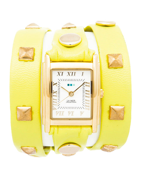 LA MER COLLECTIONS Pyramid yellow stud wrap watch