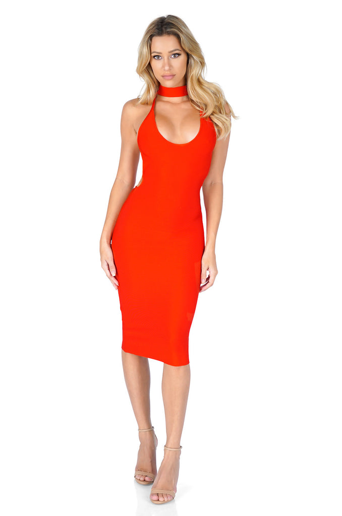 ROG Lila Halter Lace Up Bandage Dress, red
