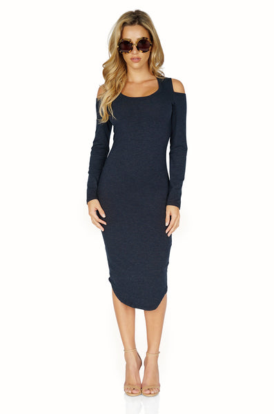 MONROW Midi Cold Shoulder Dress front