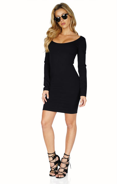 Monrow Scoop Neck Long sleeve Dress with Zip
