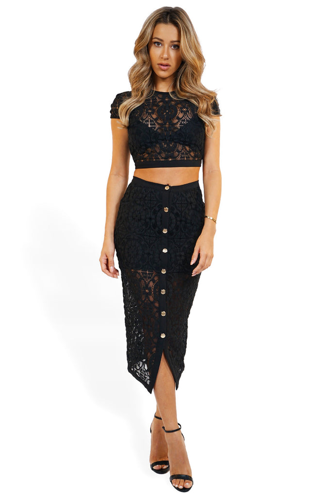 Misha Collection Diana Set w/ Midi Skirt front