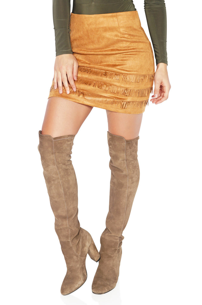 ROG Suede Fringe Mini Skirt