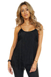 Rory Beca Fringe Top in Black front
