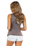 Front Keyhole Cut Out Soft Knit Tee - Sleeveless Tops back