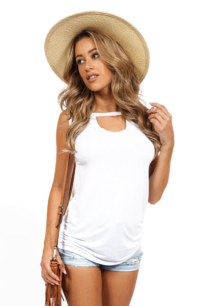 ROG Moxie keyhole cut out sleevless tee, White