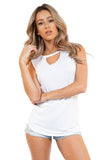 Front Keyhole Cut Out Soft Knit Tee - Sleeveless Tops