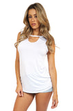 Front Keyhole Cut Out Soft Knit Tee - Sleeveless Tops side