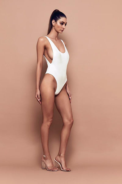 Bossa Slay Low Back Bodysuit in White front
