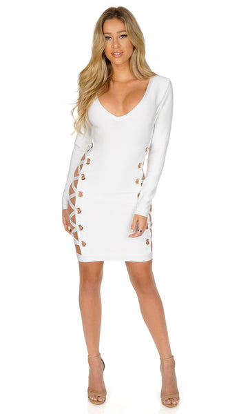 ROG A-list Long Sleeve Lace Up Bandage Dress