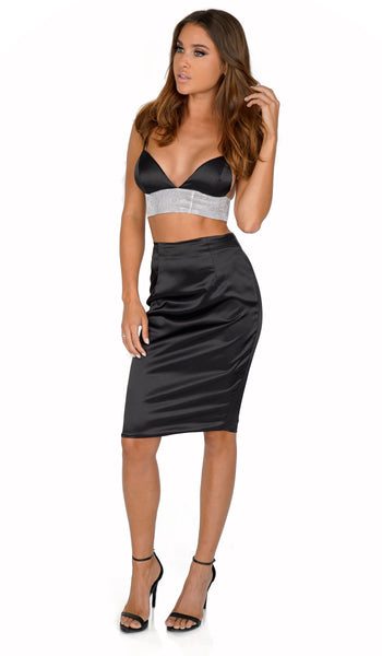 ROG Belia Rhinestone Crop Top & Skirt Set, Black