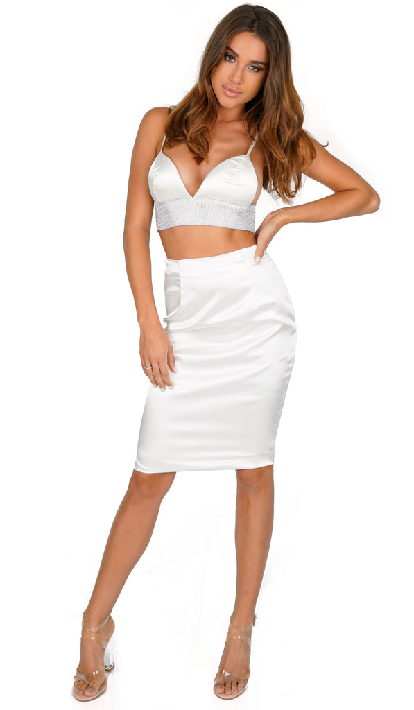 ROG Belia Rhinestone Crop Top & Skirt Set, White