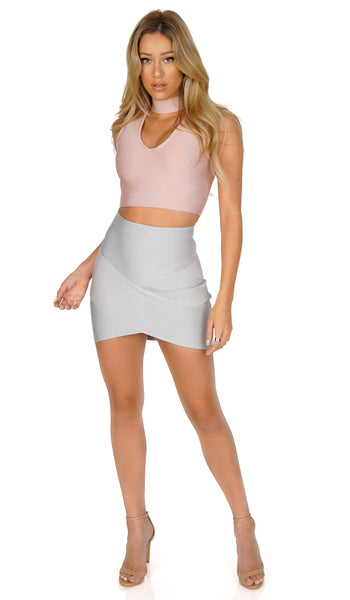 ROG V-neck choker bandage crop top, blush