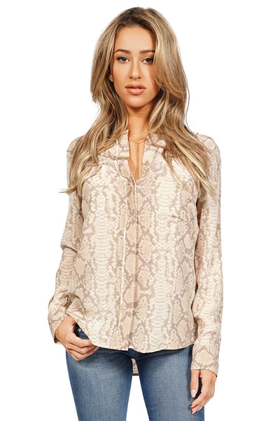Equipment Women's Lynn Button Up Longsleeve Blouse in Snake Khaki front