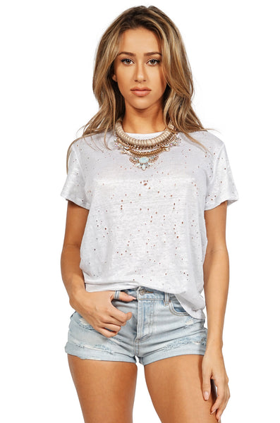 GENERATION LOVE Brandy Metallic Distressed T Shirt in Silver front
