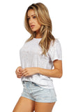 GENERATION LOVE Brandy Metallic Distressed T Shirt in Silver side