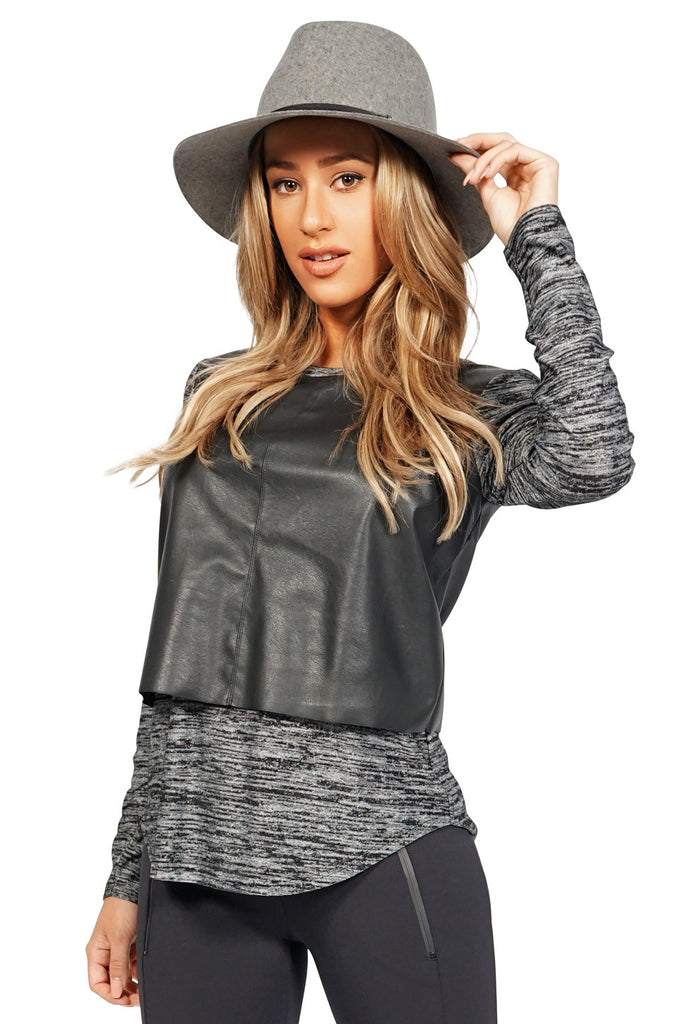 Generation Love Chloe Faux Leather Longsleeve Top in Black side