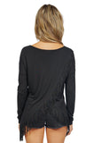 Generation Love Kioko Long Sleeve Fringe Top in Black back