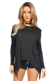 Generation Love Kioko Long Sleeve Fringe Top in Black front