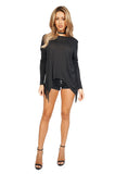 Generation Love Kioko Long Sleeve Fringe Top in Black full