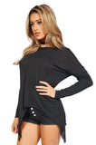 Generation Love Kioko Long Sleeve Fringe Top in Black side