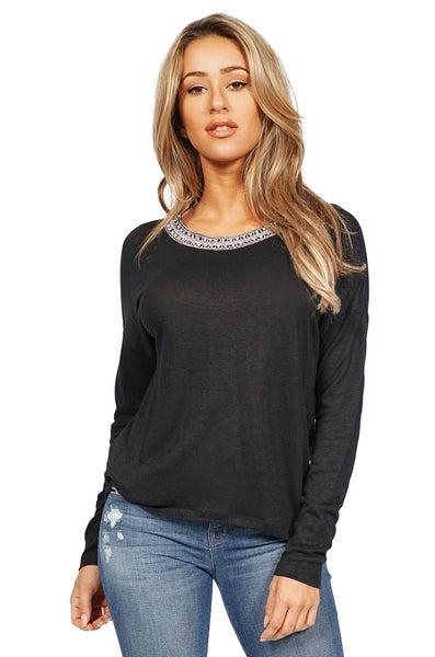 Generation Love Jeni Long Sleeve Crystal Embellished Top in Black front