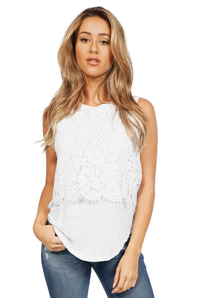 Generation Love Nori Sleeveless Lace Top in White front