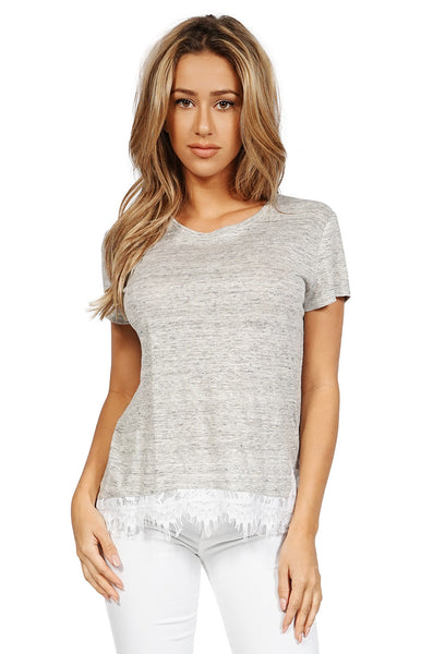 Generation Love Willis Short Sleeve Lace Hem Top in Grey front