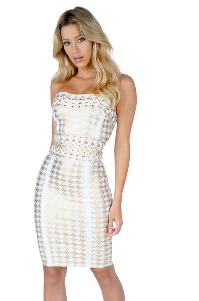 ROG Strapless Gold Herringbone Bandage Dress