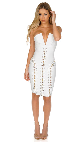 ROG High Society Plunge Strapless Lace Up Bandage Dress