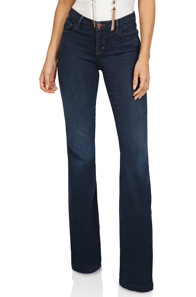 J Brand Maria High Rise Flare Denim in Dark Blue front