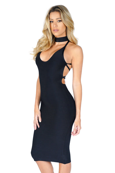 ROG Lila Halter Lace Up Bandage Dress, Black