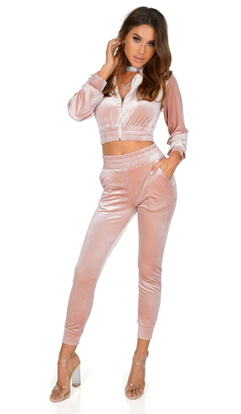 Living The Plush Life Velvet Track Suit Jacket, Rose