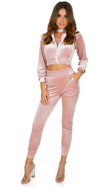 ROG Living The Plush Life Velvet Track Suit Pants, Rose