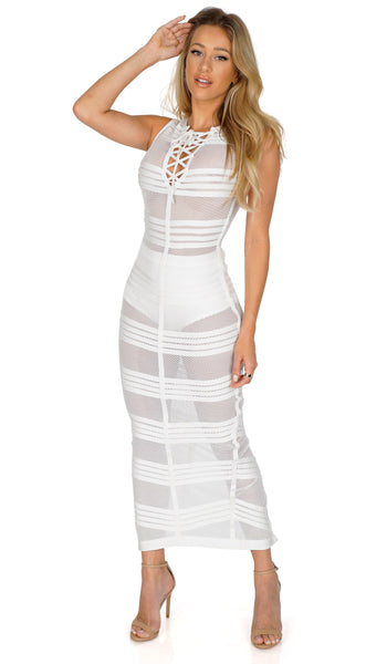 ROG Nina Mesh Maxi Bandage Dress, White